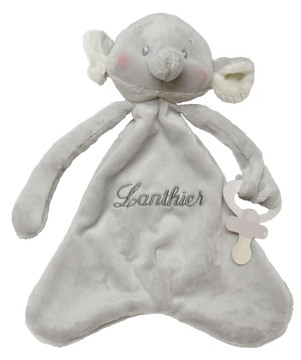GANZ Pacifier Cozy - Gray Elephant with Gray Script Lettering