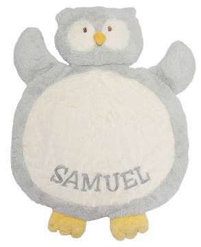 Bestever Baby Mat - Gray Owl with Happy Times Block Lettering