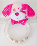 DOUGLAS® Ring Rattle - Light and Dark Pink Dog